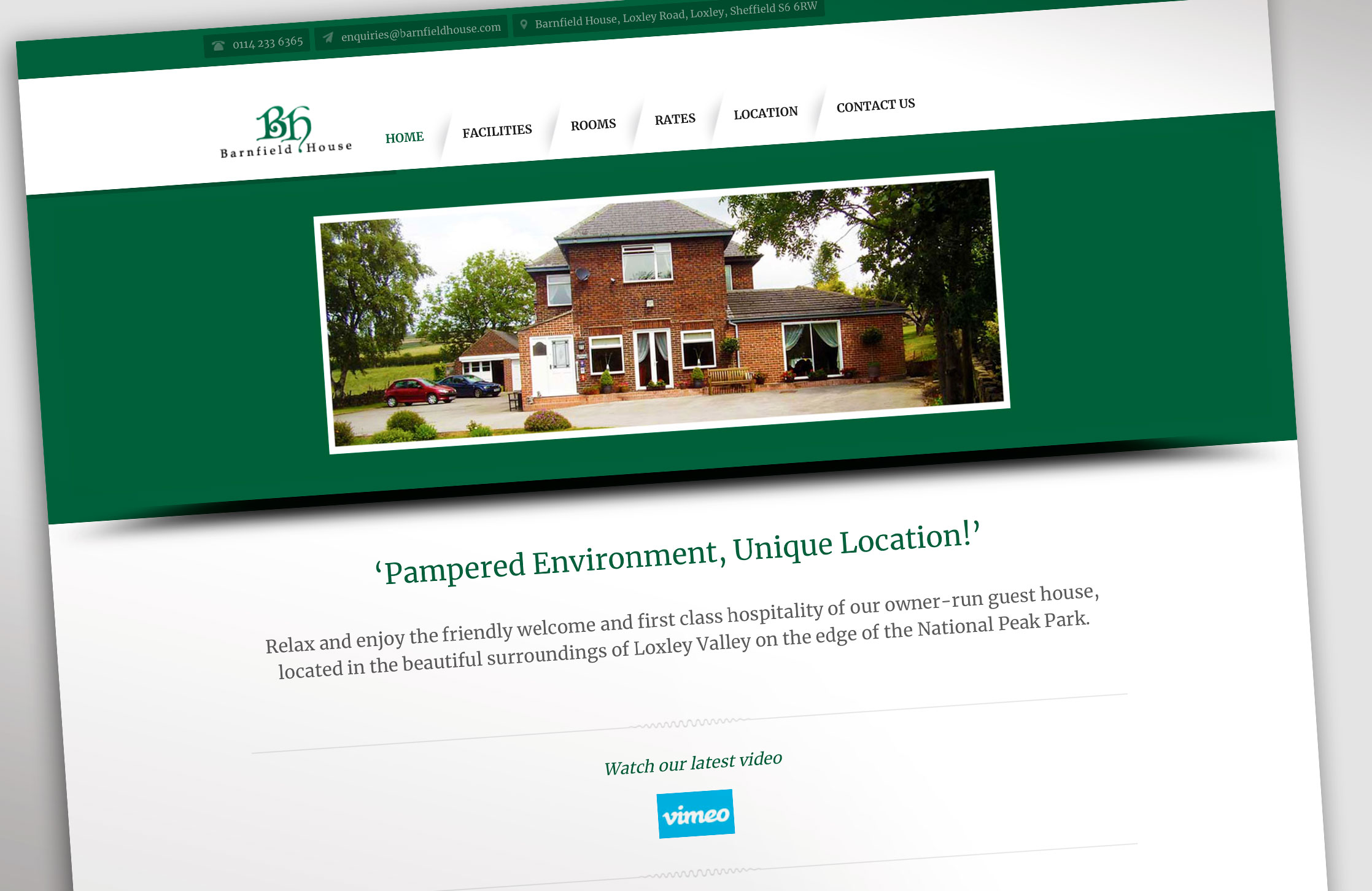 Design and population of a Wordpress website and logo design for Barnfield House luxury bed and breakfast