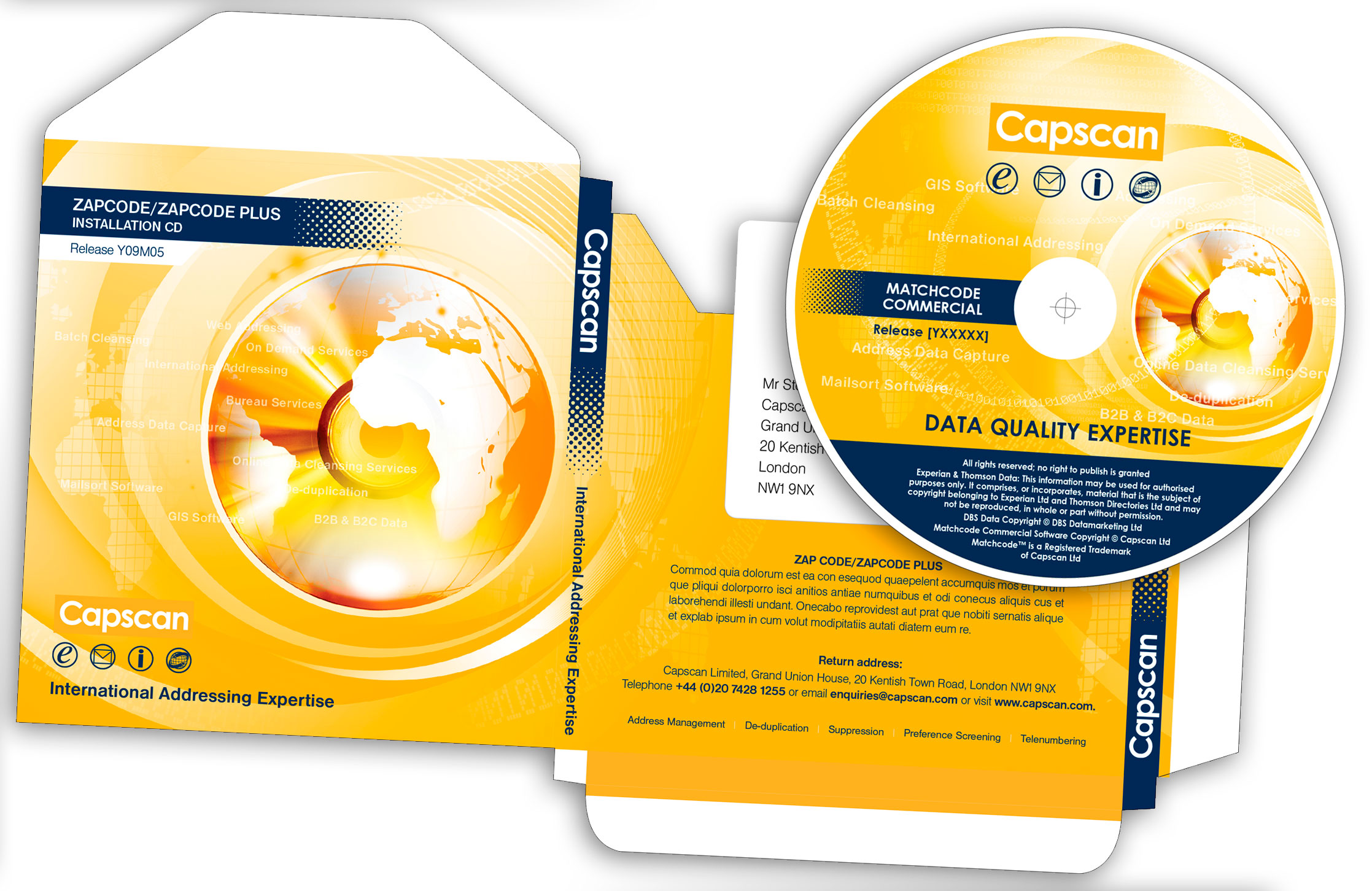 Design and artwork of Corporate styled CD postal Sleeve
