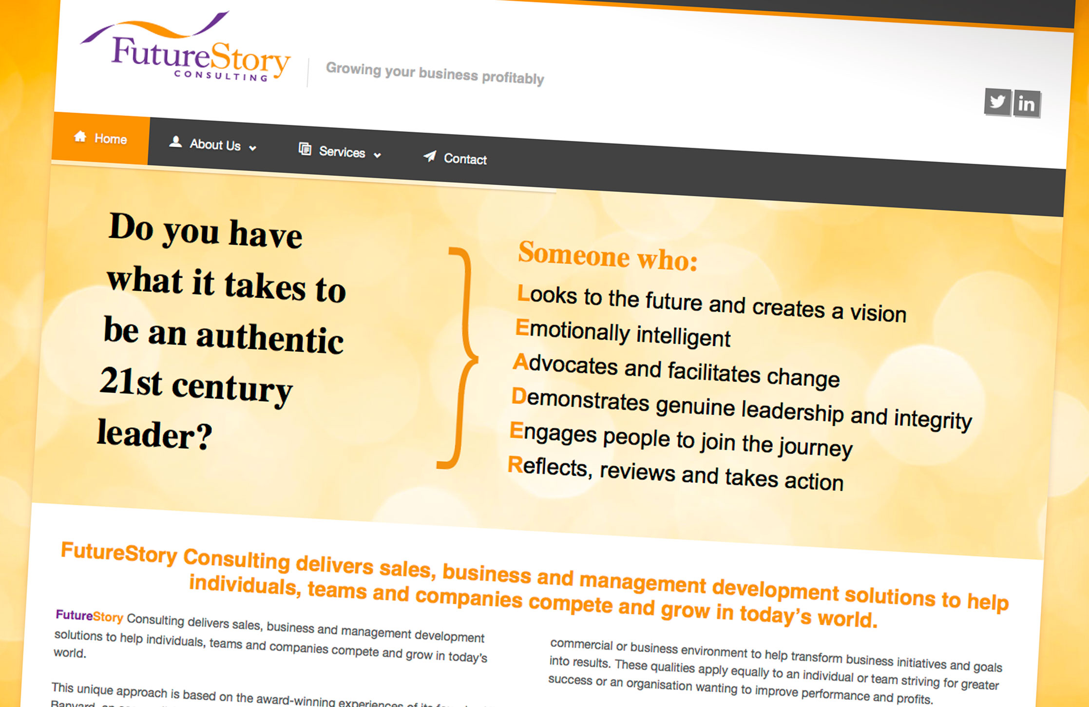 Design elements and populate Wordpress website for FutureStory Consulting