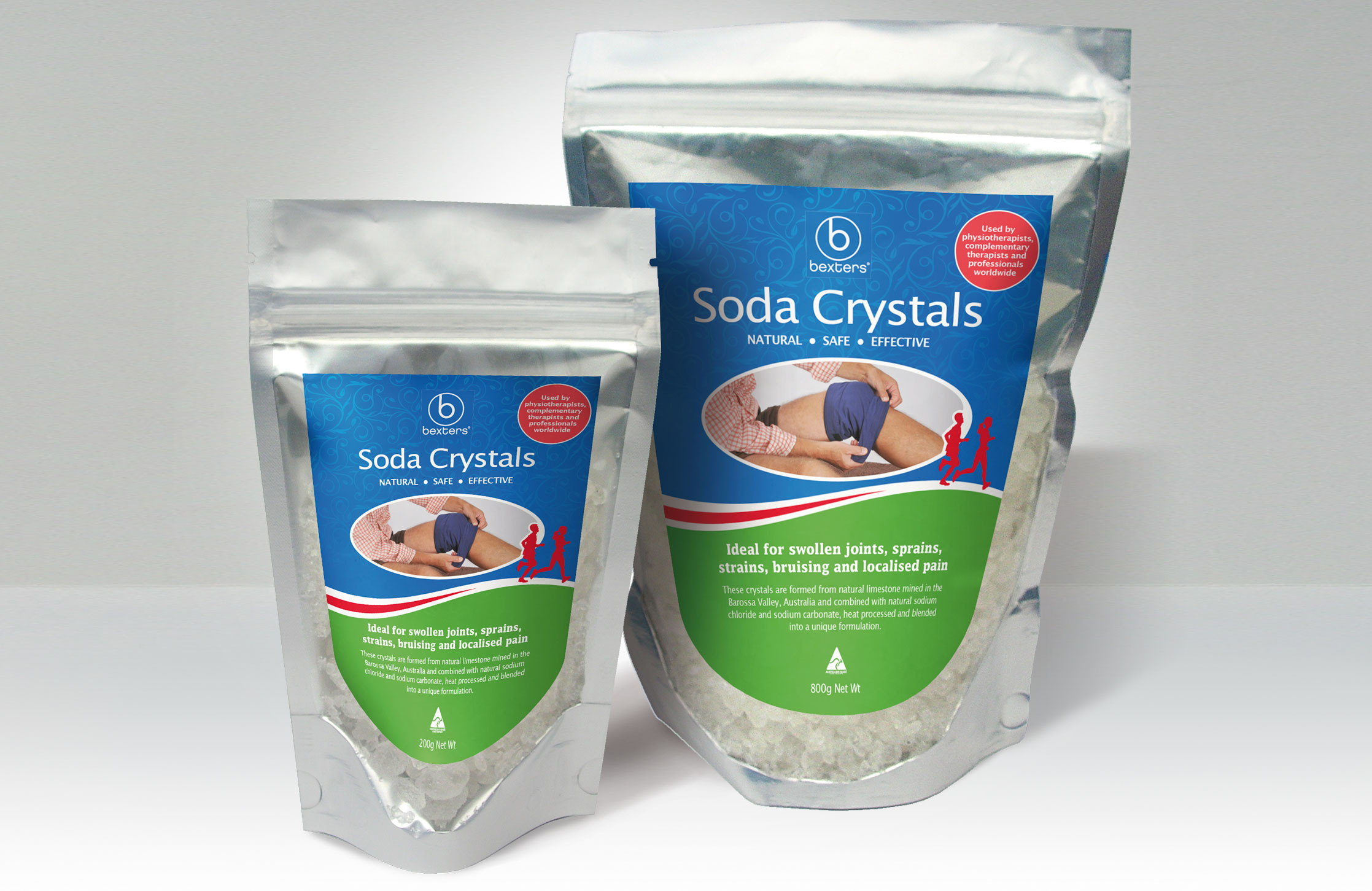 Design and artwork of Labels for Bexters Soda Crystals in association with Bowen Supplies.