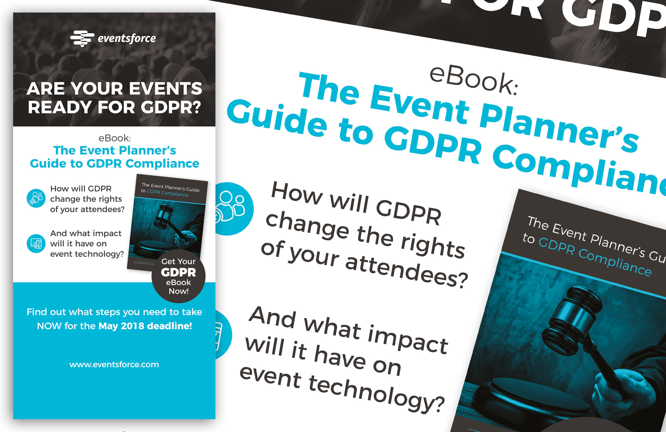 Design and Artwork of a pop-up stand to promote the Eventsforce GDPR ebook to outline recent legislation.